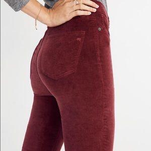 """Madewell Velvet 10"""" High Rise Skinny Jeans Sz 26"""